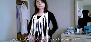 Repurpose a T-shirt into a fringe scarf a la Fefe Dobson