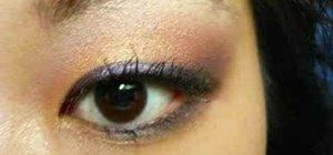 Apply gold, pink&purple eye makeup for Asian monolids