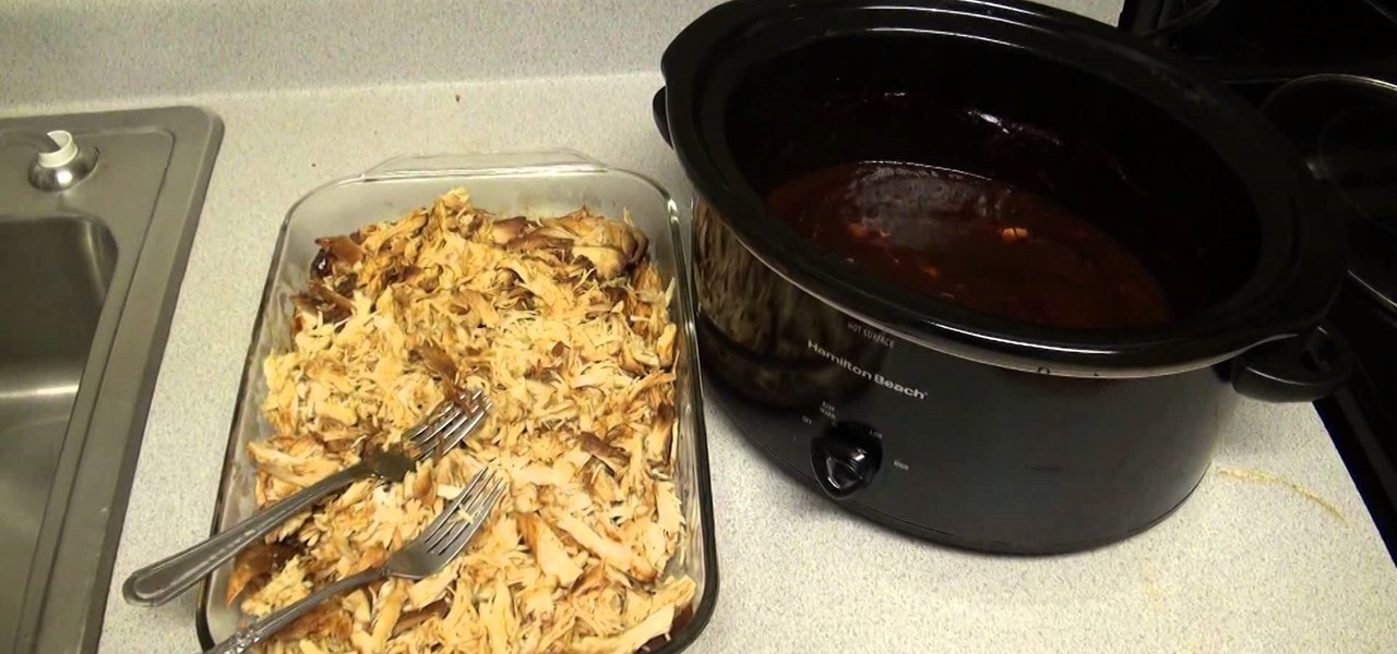 Make Pulled BBQ Chicken Breast In The Slow Cooker