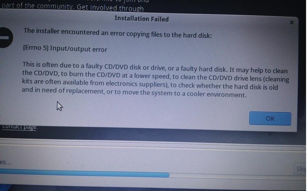 Backbox Linux Installation Fail([Errno 5] Input/Output Error)