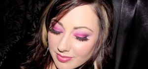 Use hot pink & silver shadows to create a makeup look