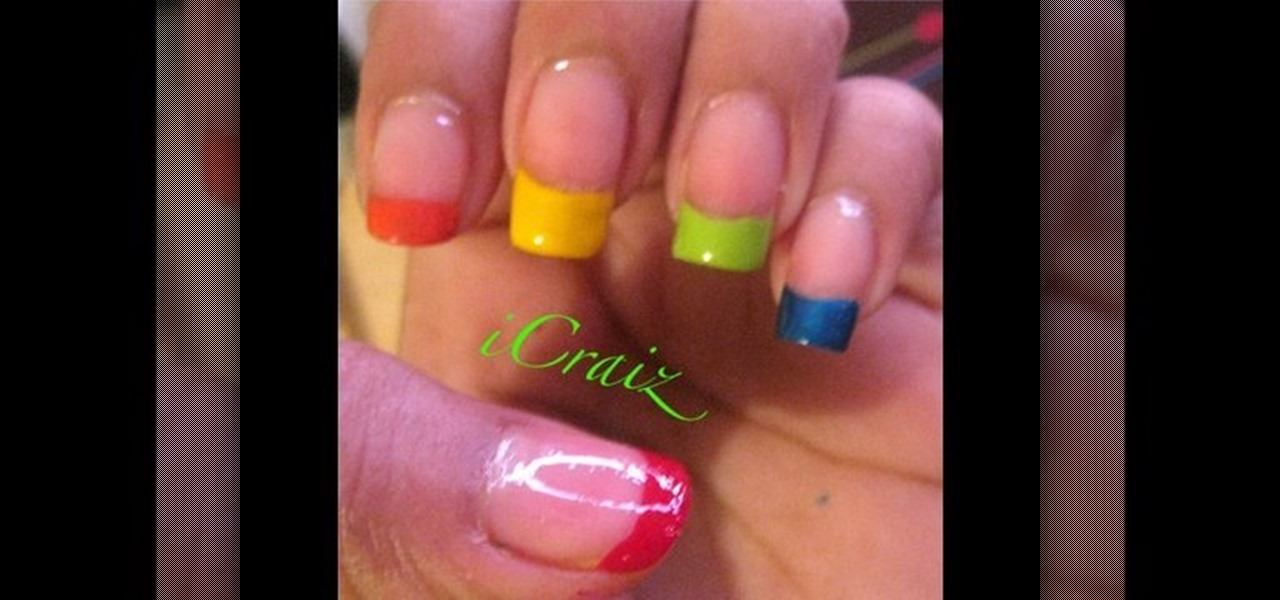 How To Paint A Rainbow French Tip Nail Manicure Nails WonderHowTo