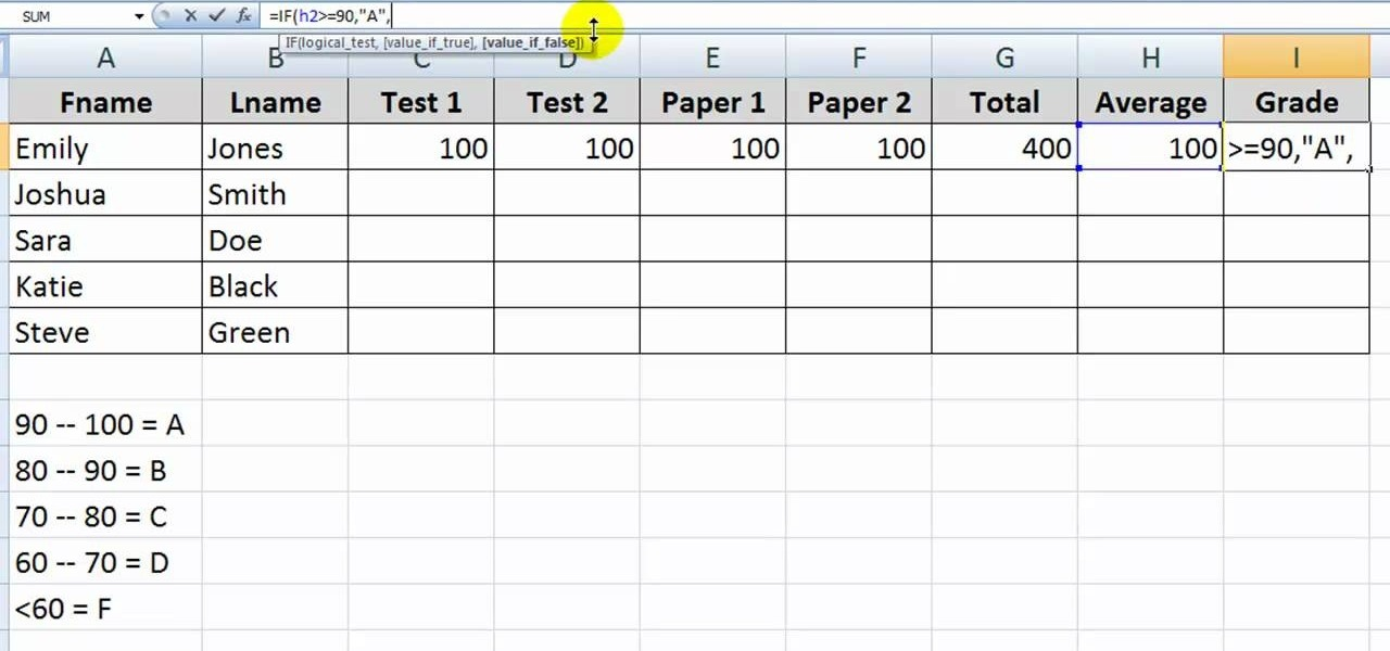 how to use the if function with letter grades in excel microsoft office wonderhowto