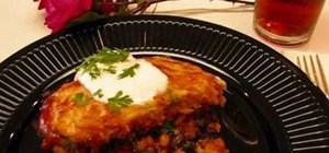 Cook an enchilada casserole with salsa and black beans