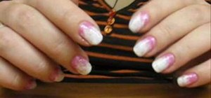 Create a pink to white fading effect nail look