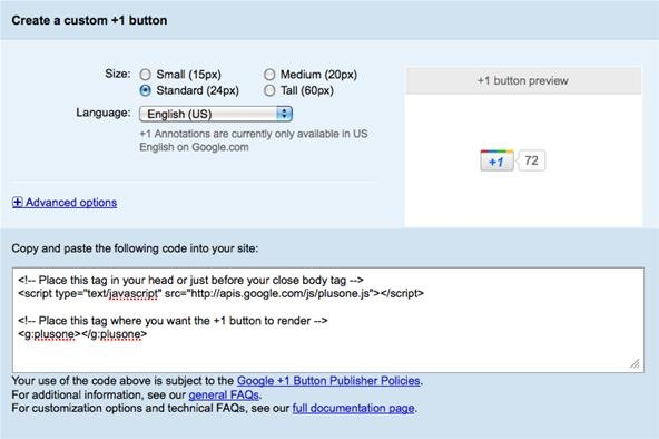 Google +1 Button Now Available for Websites