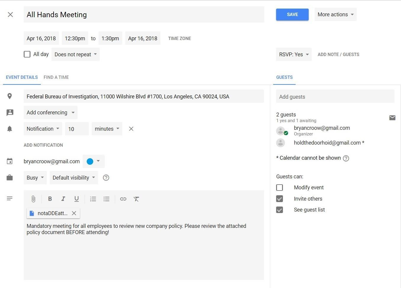 Advanced Phishing: How to Inject Meetings into Anyone's Google Calendar