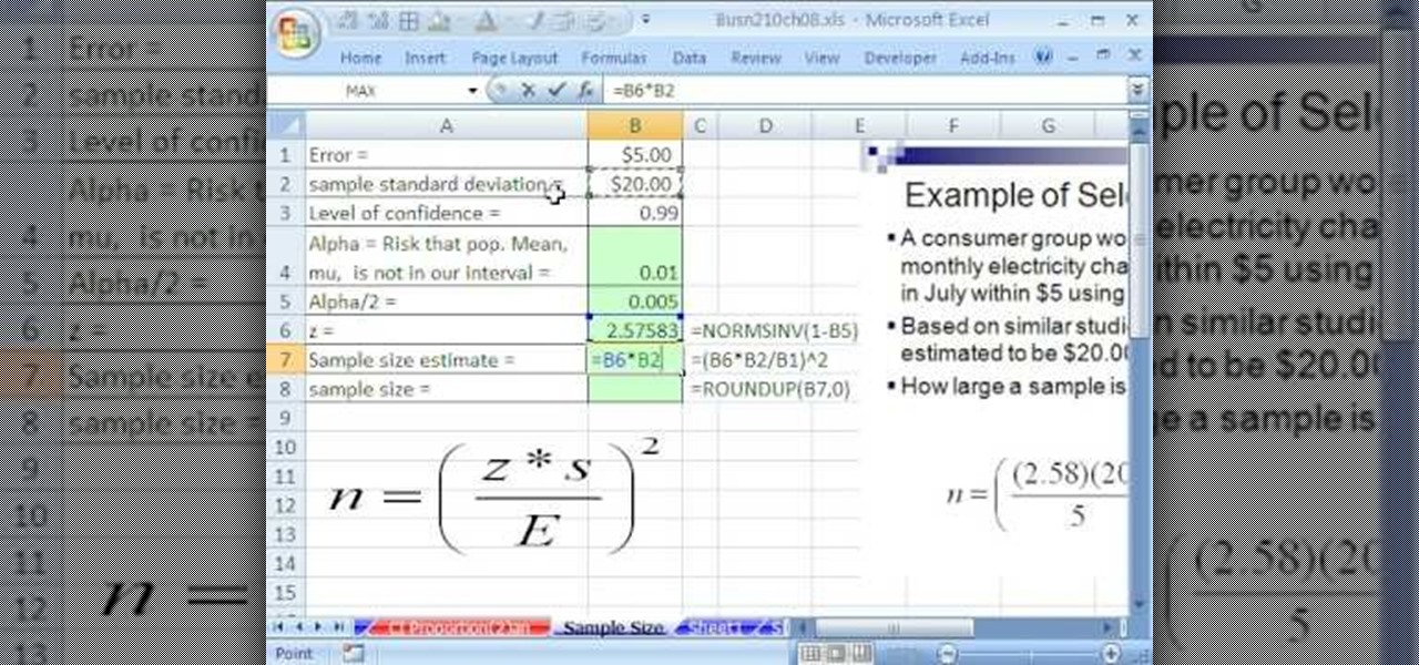 How to Find the sample size for confidence intervals in Excel ...