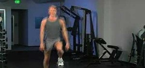 Do side-to-side steps over flat bench