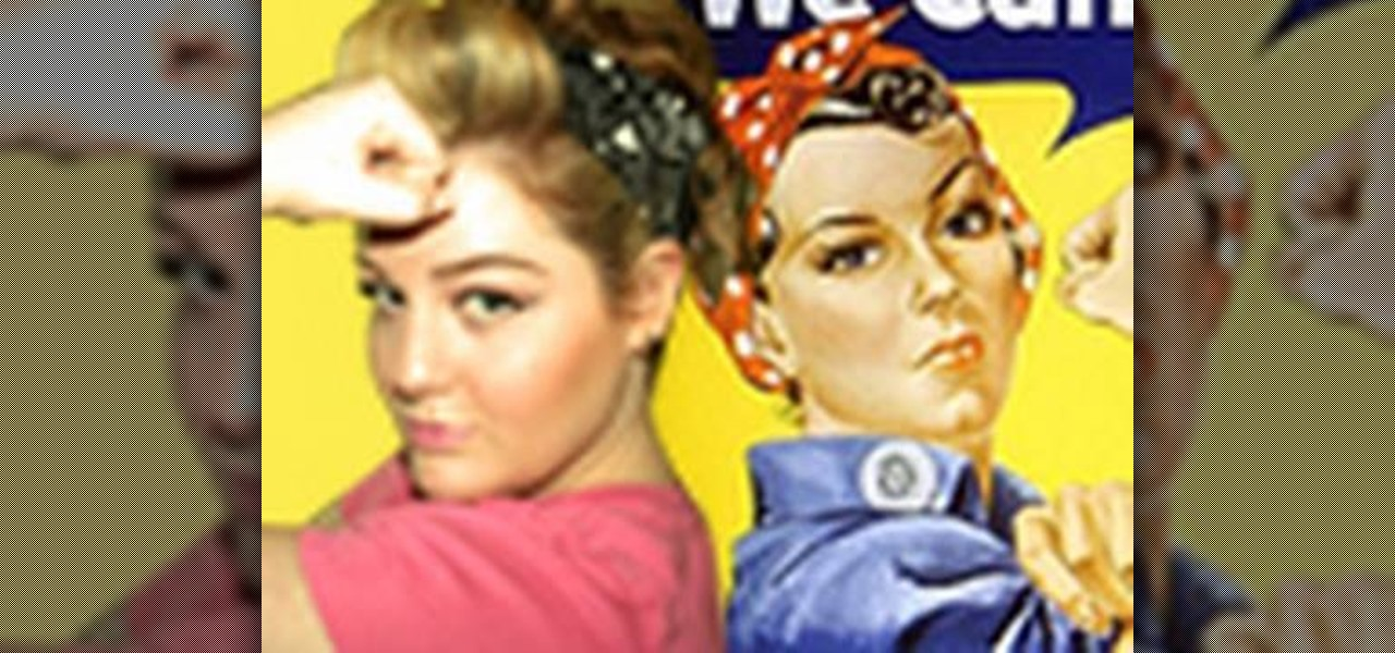 semi mohawk hairstyle : How to Get a Rosie the Riveter patriotic WWII hairstyle ? Hairstyling