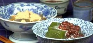 Make Japanese Macha Kudzu mochi (Cooking with Dog)