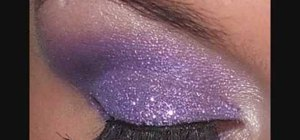 Create a glitter glam purple eye makeup look