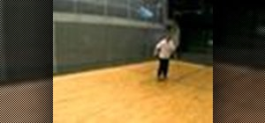 Hit a forehand corner drive in squash