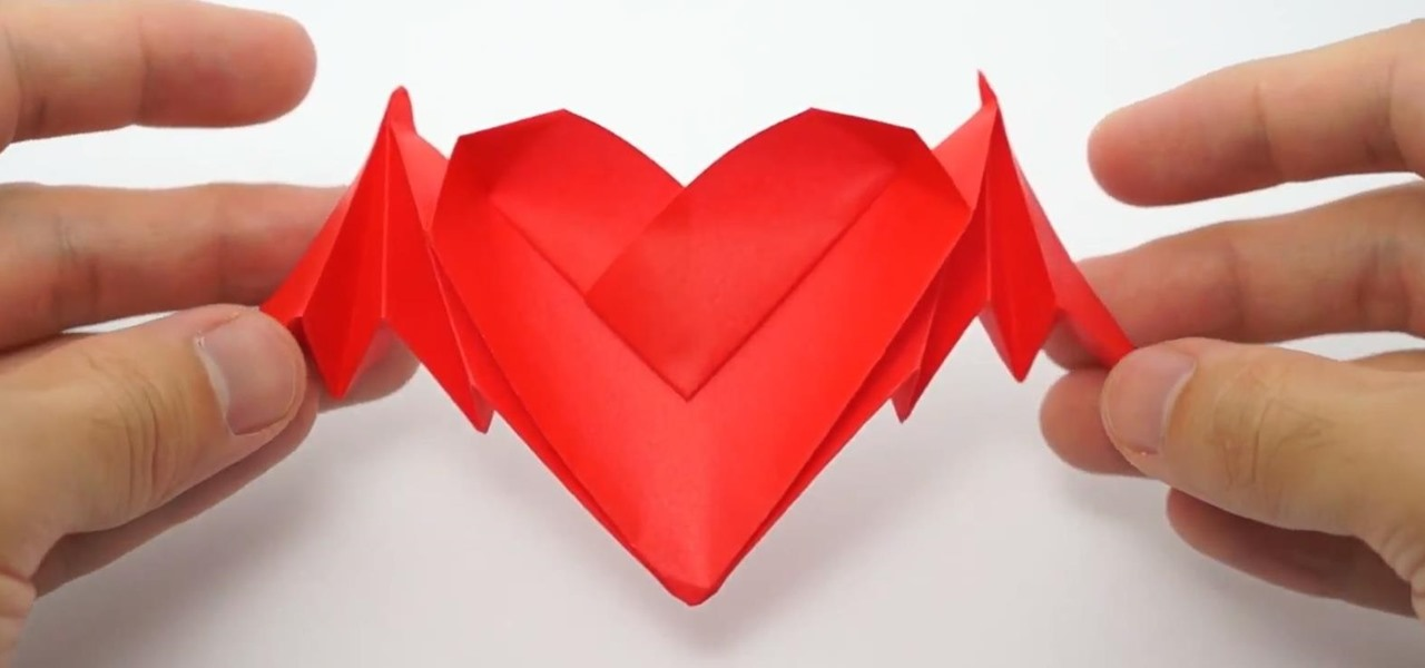 How To Fold Origami Bat Winged Hearts For Valentines Day WonderHowTo
