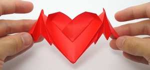 Fold Origami Bat-Winged Hearts for Valentine's Day