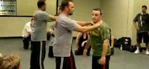 Do a Krav Maga choke with a push defense