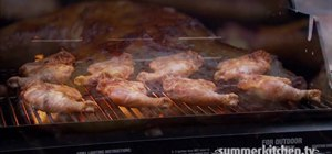 Grill chicken with gas or charcoal