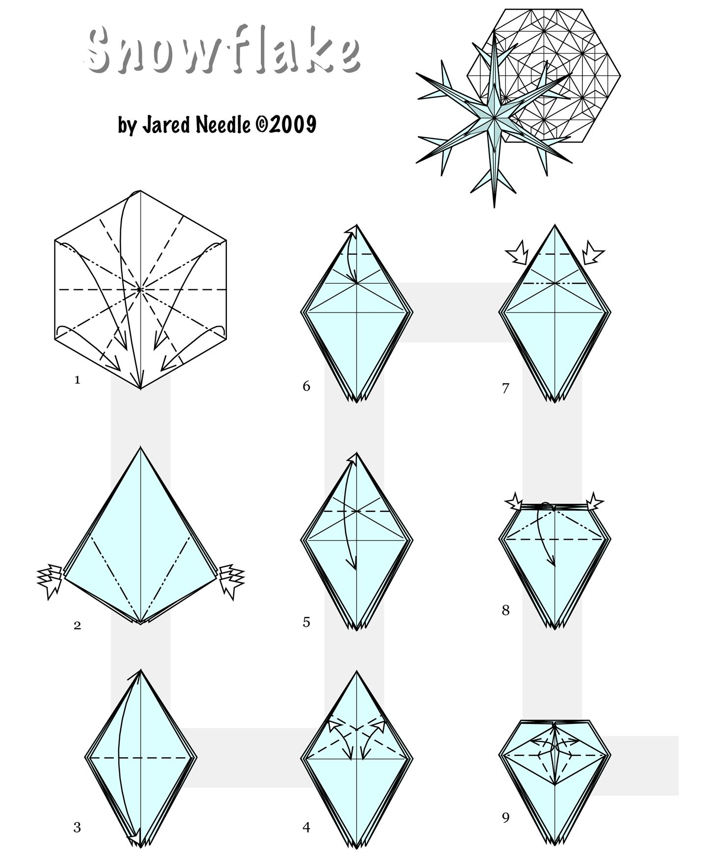 How to Fold Origami Christmas Decorations - Ornate Winter Snowflakes