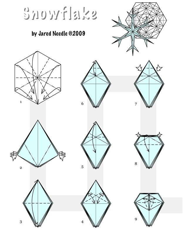folding paper for snowflakes