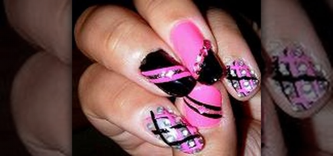 Nail art design with black : How to create a hot pink and black nail art design ? nails