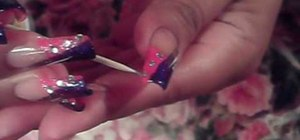 Paint your nails in a pink and purple french manicure