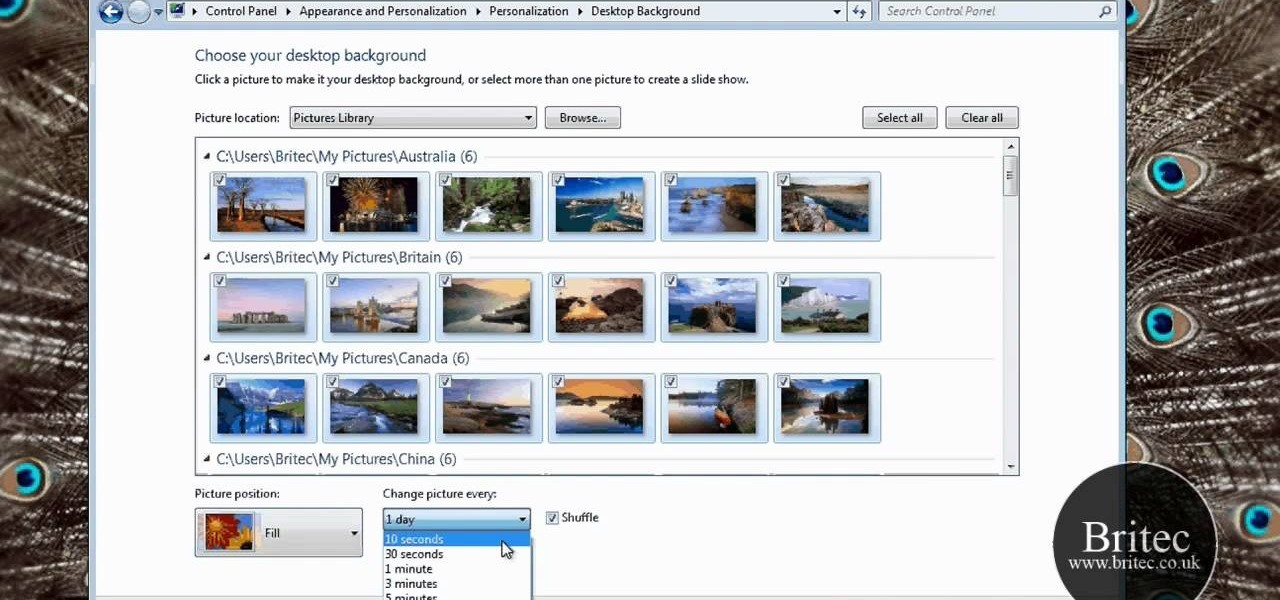 How to Rotate and change desktop background wallpaper on a Windows ...