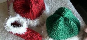 Loom knit elf and Santa hats for babies