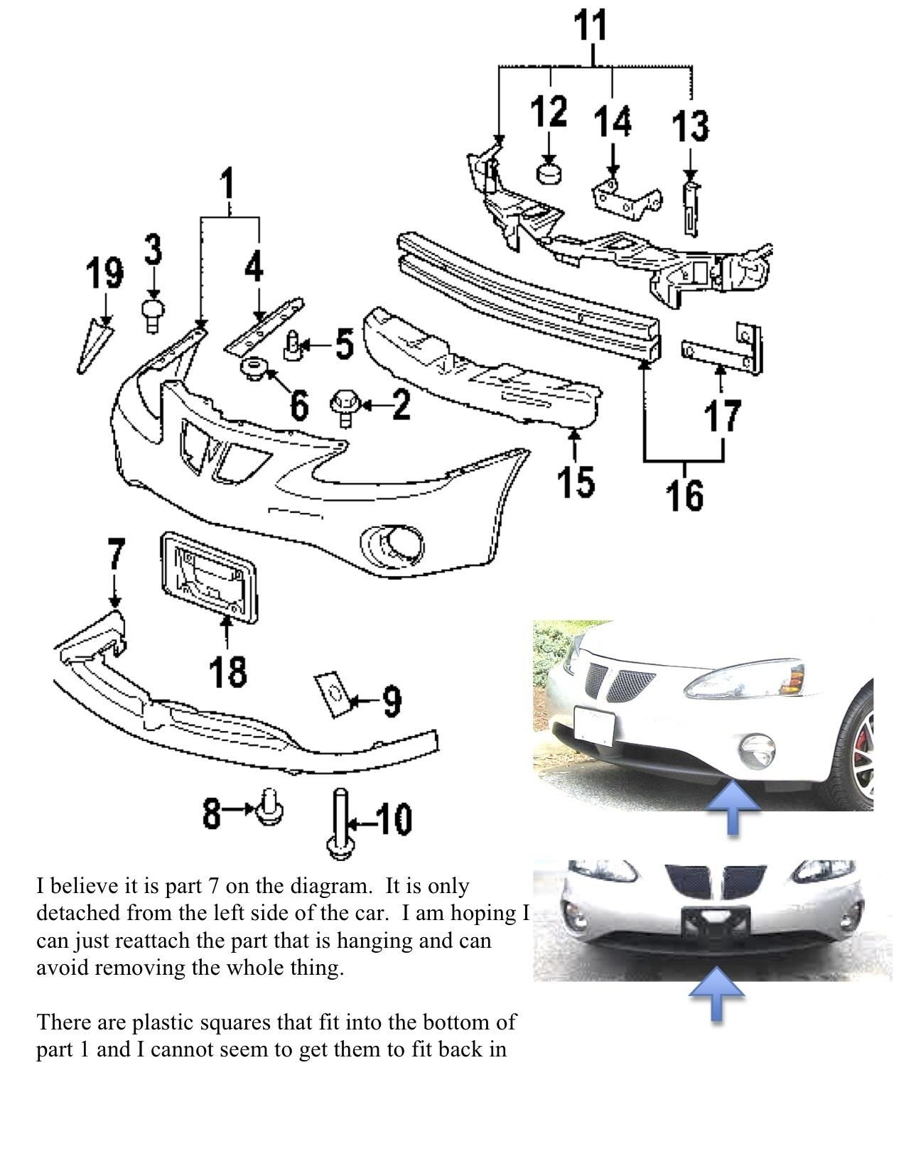 Please Tell Me Attach Front And Back Bumper Valance 06 Grand Prix 0155367 on Dodge Caravan Diagram