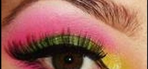 Apply pink, yellow & green couture-style eye shadow