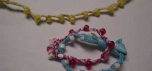 Recycle a plastic bag into a plastic bag bracelet
