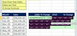 Calculate year over year sales via Excel array formula