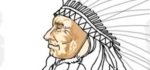 Draw the head of a Native American Indian chief