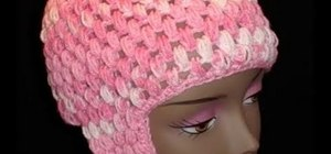 Crochet a cap with ear flaps using the puff stitch