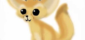 Draw a cartoon-style North African Fennec Fox