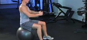 Use a stability ball for seated alternate cable rows