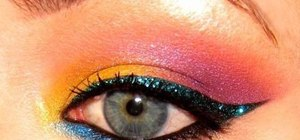 Apply colorful tropical 80's eyes with makeup