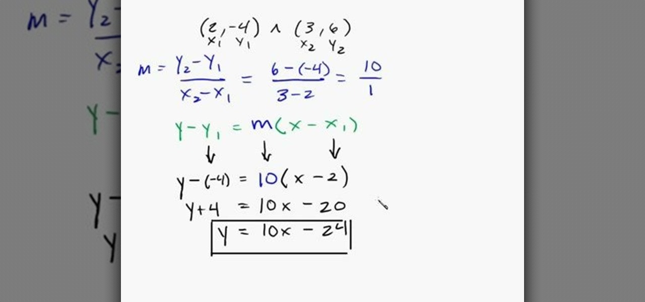How to Find the equation of a line given 2 points « Math