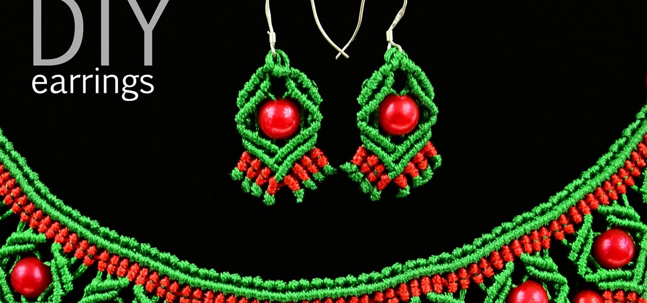 DIY Macrame Earrings with Diamonds and Beads