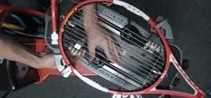 String a tennis racket by the box pattern