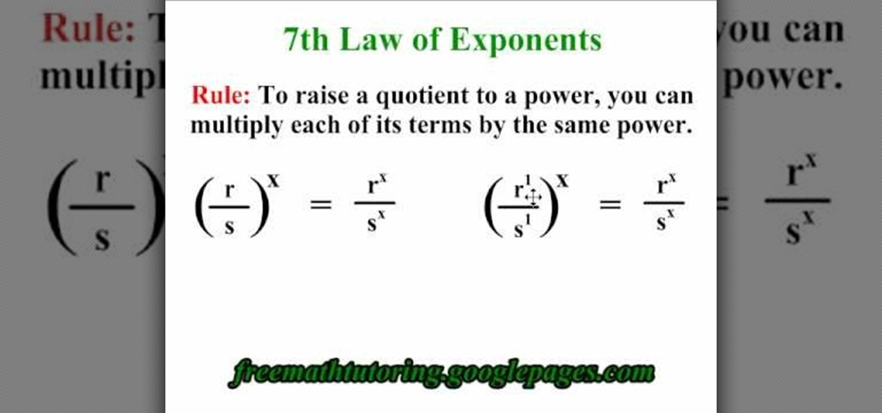 how to apply the 7th law of exponents  u00ab math    wonderhowto