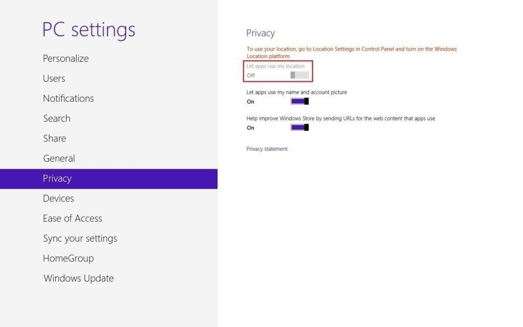How to Disable All Location Sharing on Windows 8
