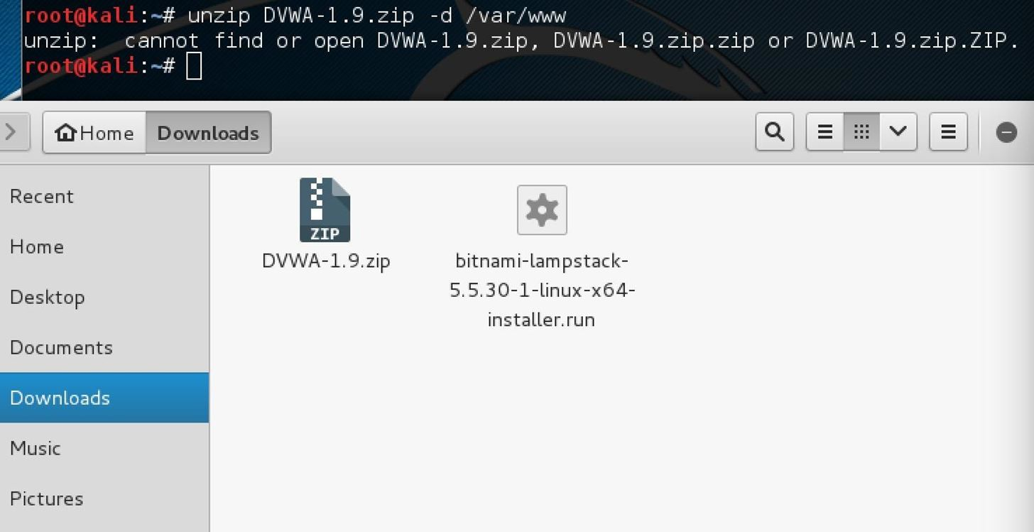 Why I Can't Unzip DVWA-1.9.Zip in Kali?