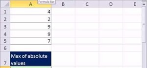 Find the absolute value max of a set of integers in Microsoft Excel