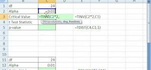 Find critical values with T functions in MS Excel