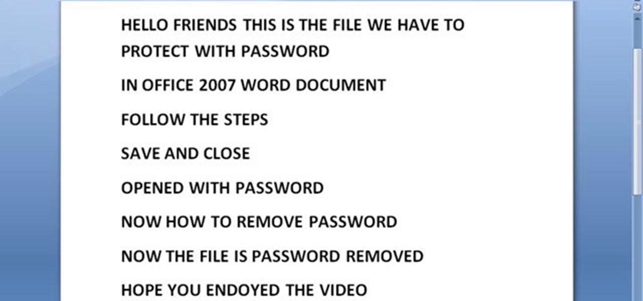 Protect MS Word Document with Password
