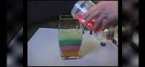 Make a layered liquids decoration with different density household fluids