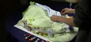 Make a Winnie the Pooh diaper cake for a baby shower