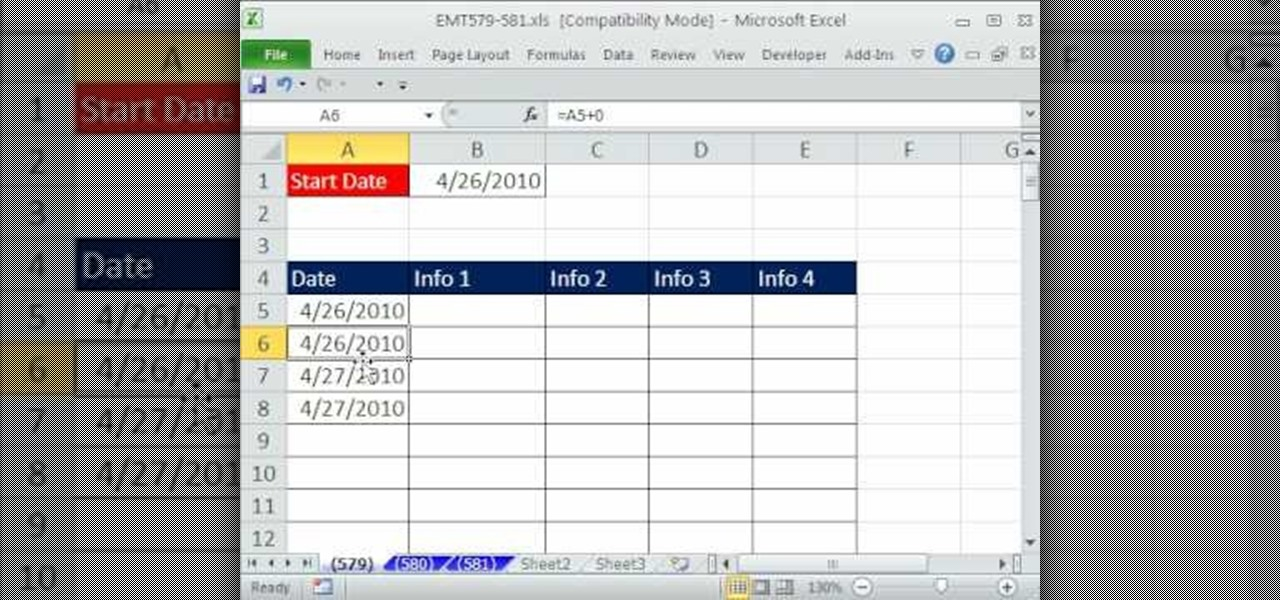how to add dates in excel column