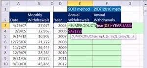 Add yearly totals from monthly data in MS Excel 2010