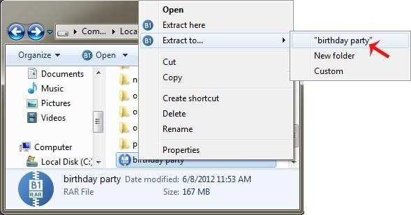How to Open .Rar Archive in One Click